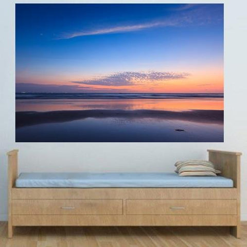 WM213 - BLUE SUNSET ON BAGA BEACH WALL MURAL - Art Fever - Art Fever