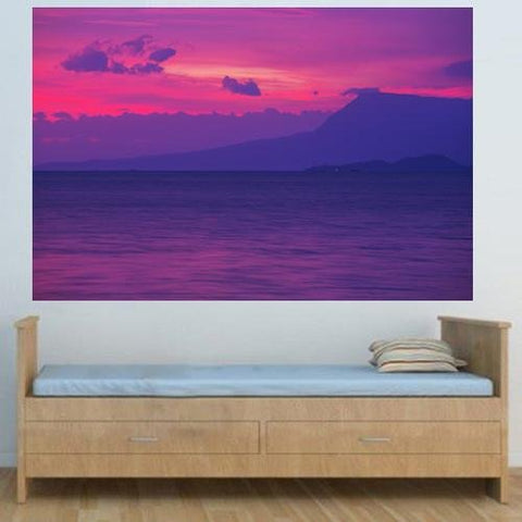 WM214 - PURPLE SUNSET SCENE WALL MURAL - Art Fever - Art Fever