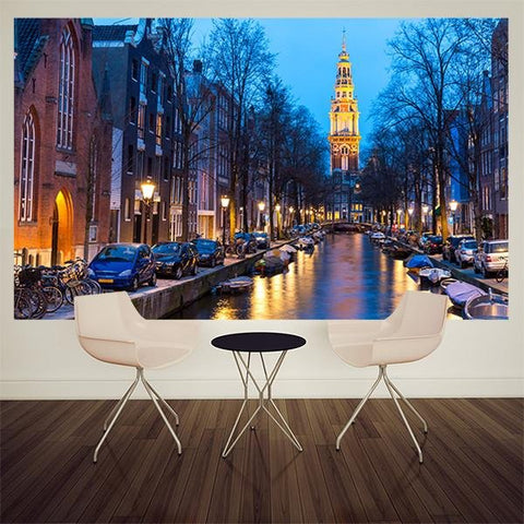WM265 - Amsterdam at night photo wall mural - Art Fever - Art Fever