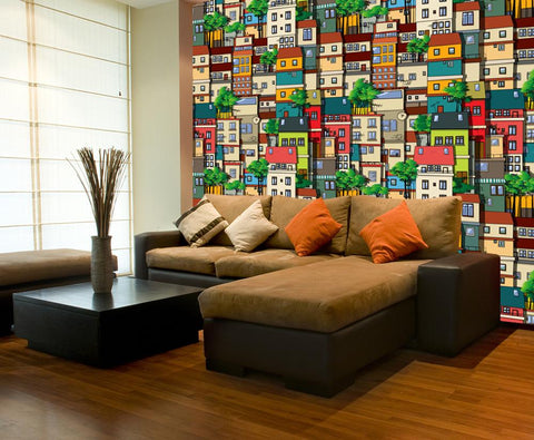 WM543 - Brazilian Favela Digital Self Adhesive Wallpaper Mural - Art Fever - Art Fever