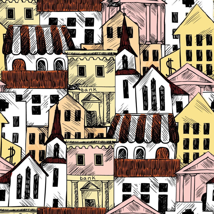WM546 - Removable Wallpaper City Buildings Hand Drawn Style - Art Fever - Art Fever