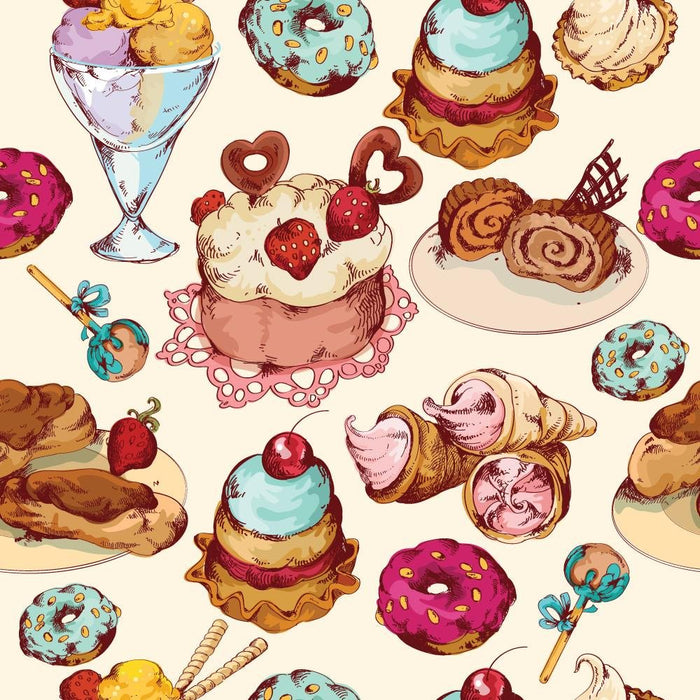 WM574 - Ice cream and cakes repeat Wallpaper | Self Adhesive Wallpaper Rolls - Art Fever - Art Fever