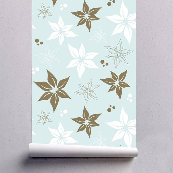 WM600 - Blue Floral Pattern Removable Self Adhesive Wallpaper - Art Fever - Art Fever