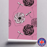 WM601 - Pink Floral Pattern Removable Self Adhesive Wallpaper - Art Fever - Art Fever