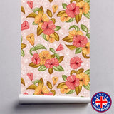 WM602 - Pink Peony And Green Leaves Floral Removable Self Adhesive Wallpaper - Art Fever - Art Fever