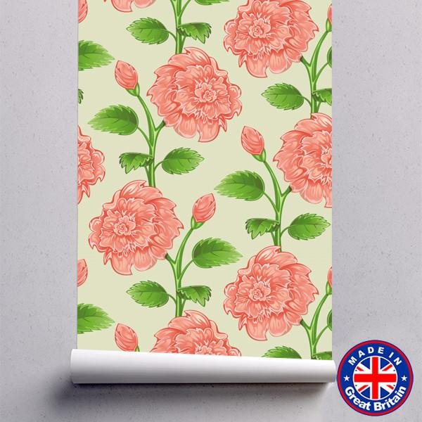 WM604 - Pink & Green Flowers Floral Pattern Removable Self Adhesive Wallpaper - Art Fever - Art Fever