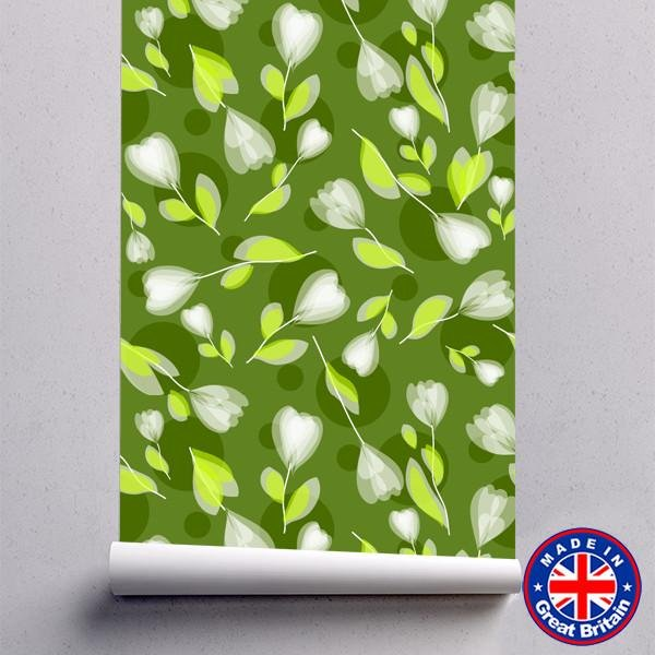 WM605 - Green Floral Pattern Removable Self Adhesive Wallpaper - Art Fever - Art Fever