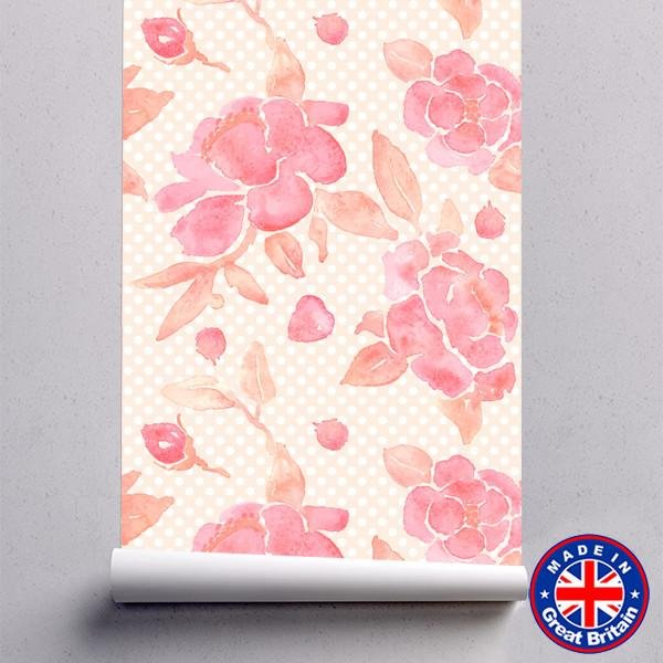 WM606 - Pink Watercolour Floral Pattern Removable Self Adhesive Wallpaper - Art Fever - Art Fever