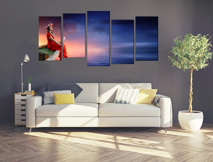 Women Boat Sky Sunset Multi Panel Canvas Print wall Art - MPC63 - Art Fever - Art Fever