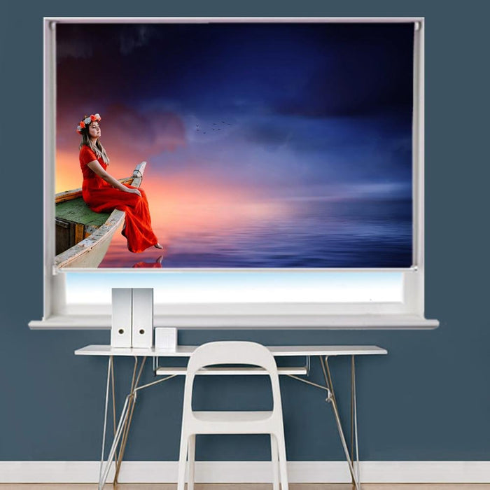 Women Boat Sky Sunset Printed Picture Photo Roller Blind - RB788 - Art Fever - Art Fever