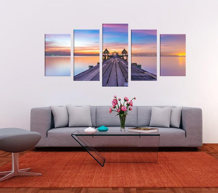 Wooden Bridge Sunset Image Multi Panel Canvas Print wall Art - MPC190 - Art Fever - Art Fever