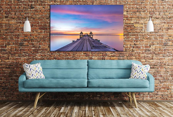 Wooden Bridge Sunset Image Printed Onto A Single Panel Canvas - SPC143 - Art Fever - Art Fever