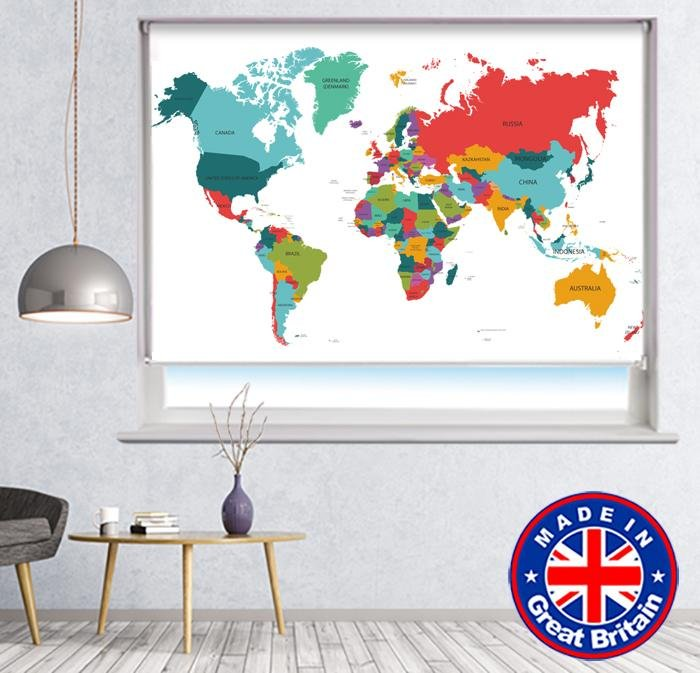 World Map Printed Picture Photo Roller Blind - RB782 - Art Fever - Art Fever