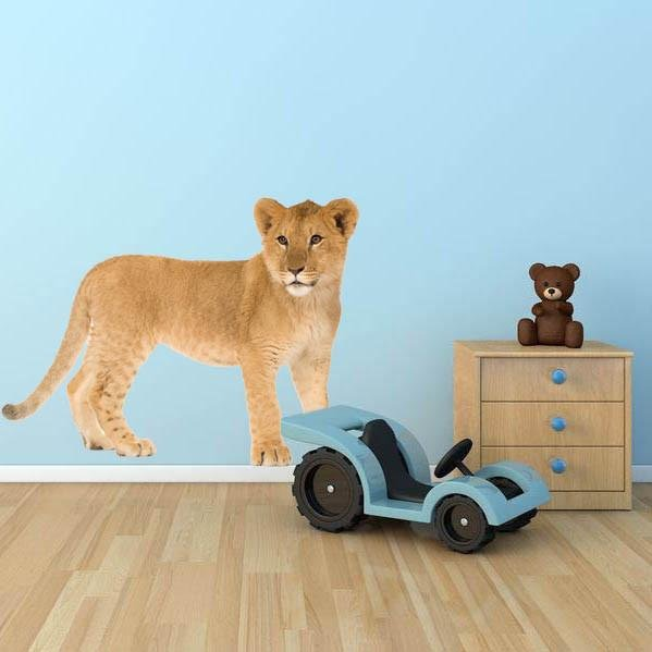 wsd132 - Lion cub animal removable wall sticker - Art Fever - Art Fever