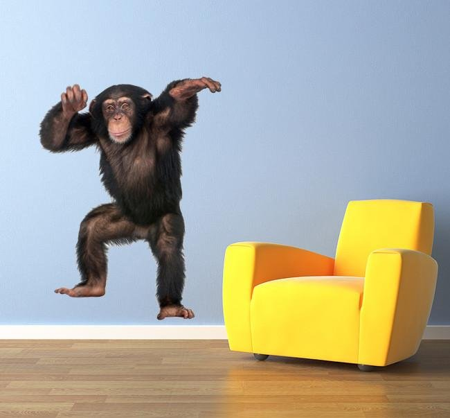 wsd134 - Dancing monkey animal removable wall sticker - Art Fever - Art Fever
