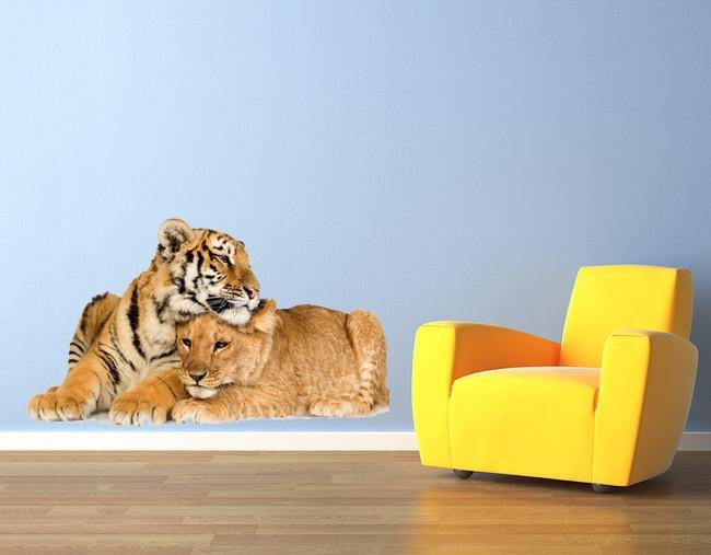 wsd135 - Large lion and tiger cubs removable wall sticker - Art Fever - Art Fever
