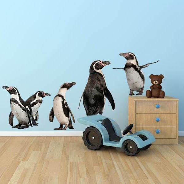 wsd136 - Large penguin set removable wall stickers - Art Fever - Art Fever