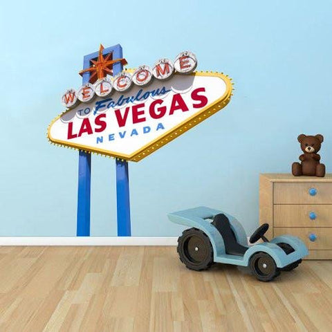 WSD137 - LARGE WELCOME TO VEGAS SIGN WALL STICKER - Art Fever - Art Fever