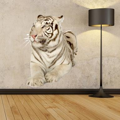 wsd145 - Large white tiger removable wall sticker - Art Fever - Art Fever