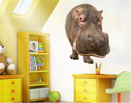 WSD150 - large hippopotamus wall sticker. removable animal photo wall decal - Art Fever - Art Fever