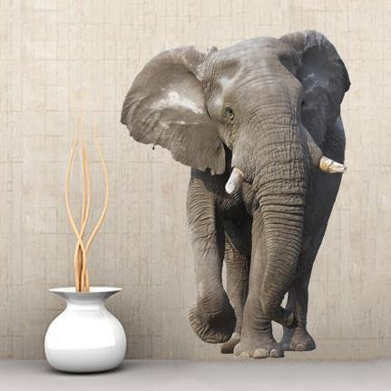wsd166 - Large African elephant animal removable wall sticker - Art Fever - Art Fever