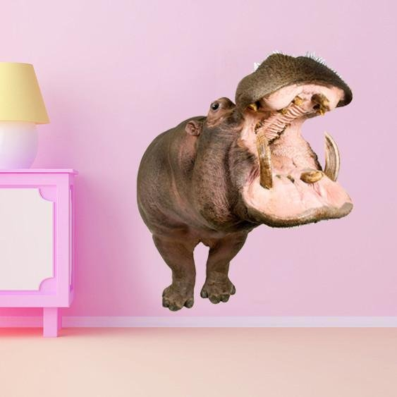 WSD180 - large hippopotamus wall sticker. removable animal photo wall decal - Art Fever - Art Fever