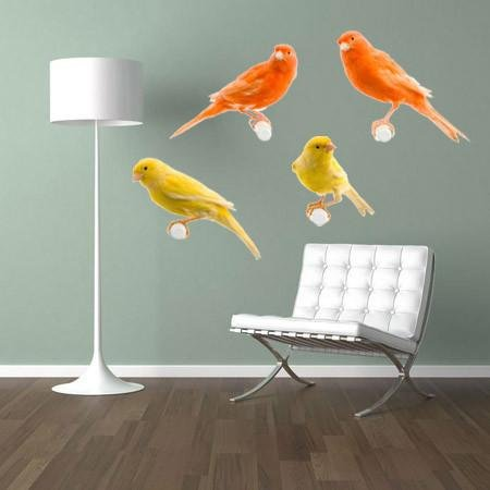 WSD194 - red & yellow canary bird wall sticker set - Art Fever - Art Fever