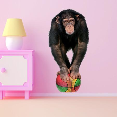 WSD207 - Young Chimpanzee on basketball removable animal - Art Fever - Art Fever
