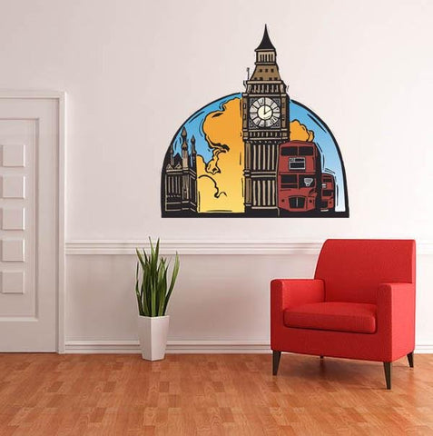 WSD3 - London scene with big ben wall sticker - Art Fever - Art Fever