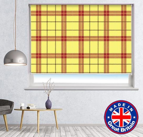 Yellow Red Tartan Plaid Pattern Printed Picture Photo Roller Blind - RB610 - Art Fever - Art Fever