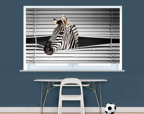 Zebra Peeking through the blind Printed Picture Photo Roller Blind - RB226 - Art Fever - Art Fever