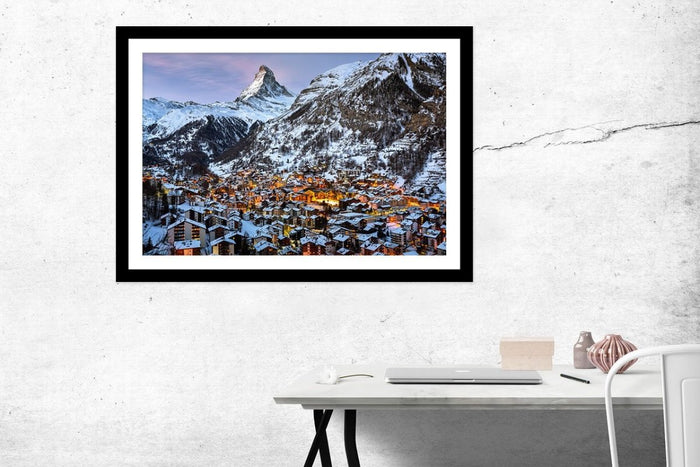 Zermatt Valley And Matterhorn Peak In The Morning, Switzerland Framed Mounted Print Picture - FP93 - Art Fever - Art Fever