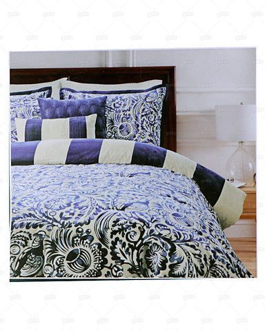 Waller & Francis Collection - Spotswood Stripe 7 Piece Comforter Set with BedSkirt, 2 Shams & 3 Decorative Pillows - Navy Blue