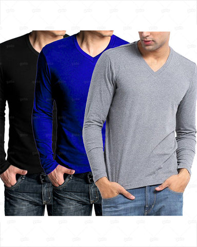 Aybeez - Pack of 3 Decent VNeck Full Sleeves TShirts For Mens ABZ788