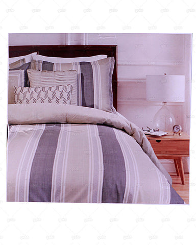 Waller & Francis Collection - Spotswood Stripe 7 Piece Comforter Set with BedSkirt, 2 Shams & 3 Decorative Pillows - Beige