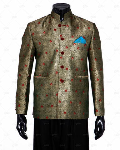 EDGE - Prince Coat Jamawar - Red and Green