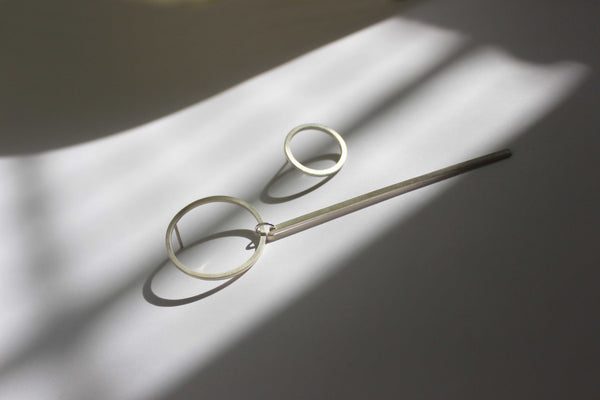 Mismatched Circle + Line Earrings, by BAARA Jewelry. Minimal Asymmetrical Earrings, Long Stud