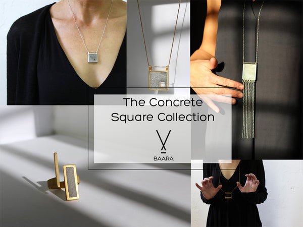 Square Concrete Collection, by BAARA Jewelry. Urban jewelry, concrete necklaces, concrete rings, concrete earrings