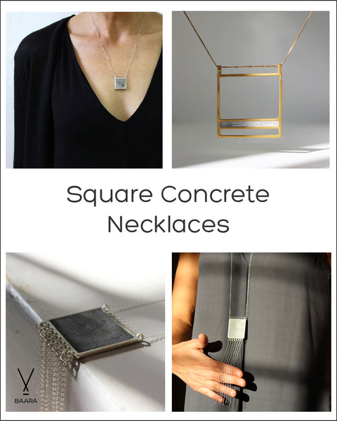 concrete squares necklaces, by BAARA Jewelry