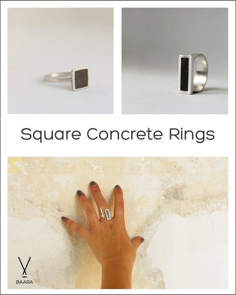 Square concrete rings, by BAARA Jewelry. Three square rings in different styles. A delicate square concrete ring, a rectangle signet ring and an adjustable concrete geometric ring