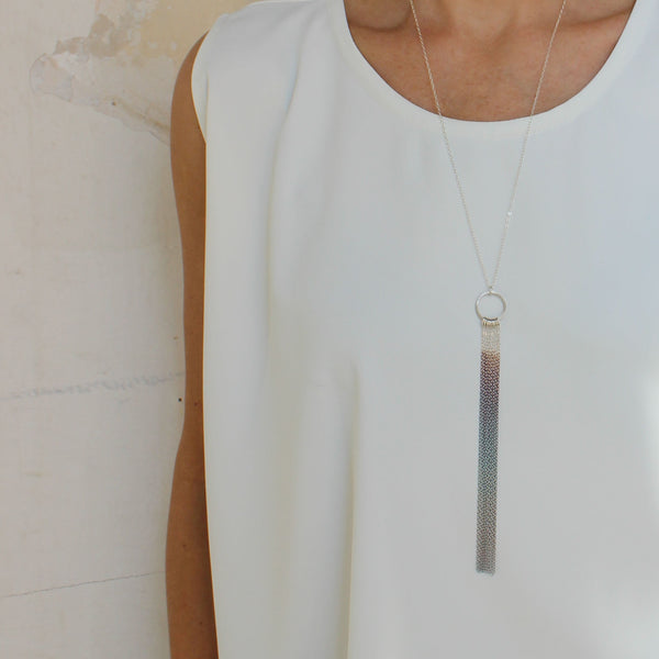 Long delicate fringe necklace, silver rainbow necklace, by BAARA Jewelry. Minimalist handmade long necklace