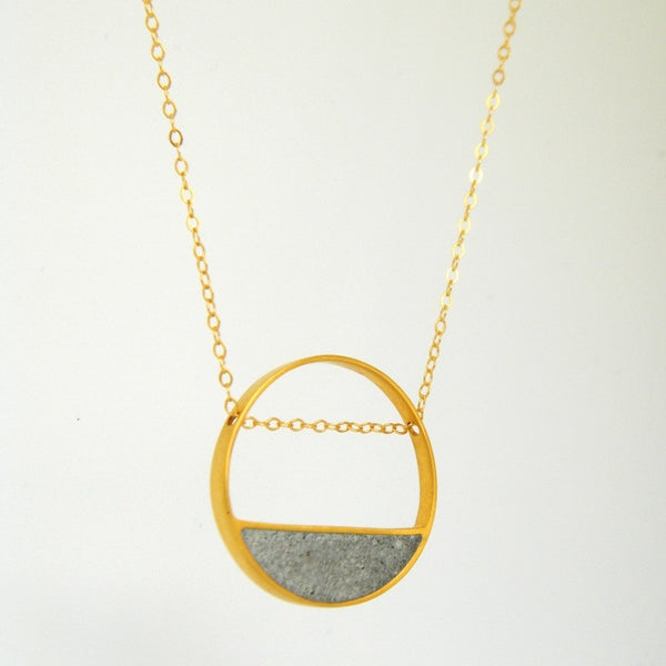 Balance Concrete Necklace, in Gold, by BAARA Jewelry. Circular Pendant, Cement Pendant, Minimalist Necklace