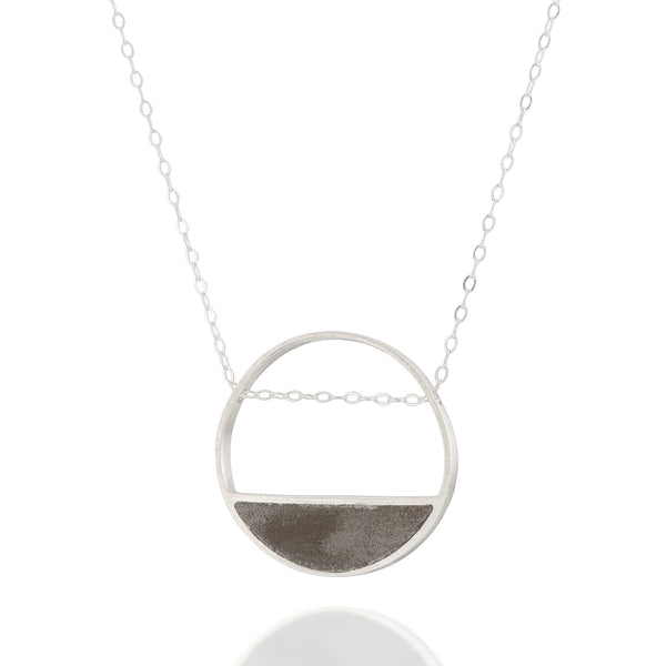 Balance Circle Concrete Necklace, Statement Contemporary Jewelry, Delicate yet Memorable Neckpiece