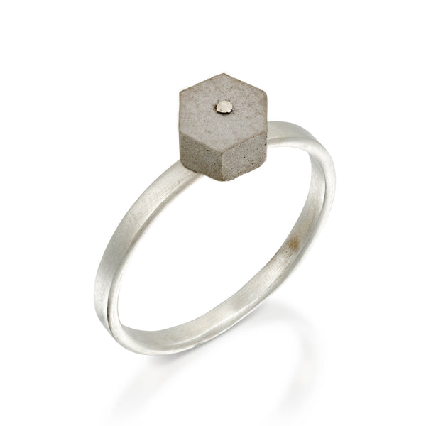 Concrete Stackable Hexagon Ring, by BAARA Jewelry, Cement Ring, Sterling Silver Stacking Ring, Concrete Hexagon RingConcrete Stackable Hexagon Ring, by BAARA Jewelry, Cement Ring, Sterling Silver Stacking Ring, Concrete Hexagon Ring