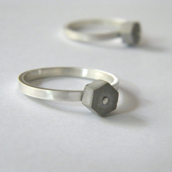 Concrete Stackable Concrete Hexagon Ring, by BAARA Jewelry, Concrete Ring, Sterling Silver Stacking Ring