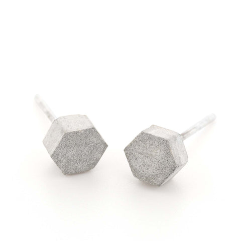 Hexagon Concrete Stud Earrings, by BAARA Jewelry, Minimal Jewelry, Cement Studs, Beton, Silver Tiny Earrings