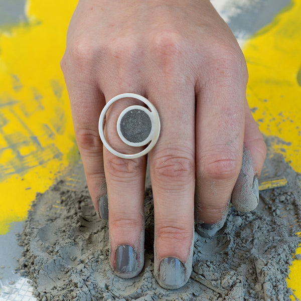 Orbit Concrete Ring, Unique Jewelry, Unconventional Materials Jewelry, Silver Ring