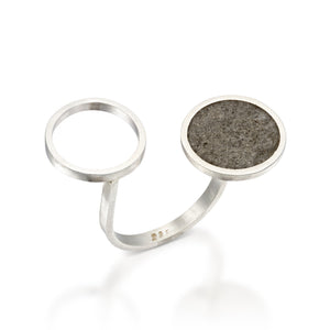 Double Circles Concrete Ring, Statement Ring, Unique Jewelry, Urban Jewelry, Silver and Concrete, Cement Ring, Adjustable Ring
