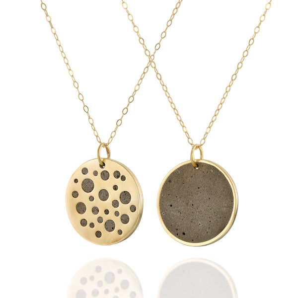 Double Sided Minimalist Concrete Circles Necklace, by BAARA Jewelry. Gold and Cement Handmade, Unique Jewelry. Perfect gift for Stylish Girls and Women. Gold Plated Brass and Beton Jewelry
