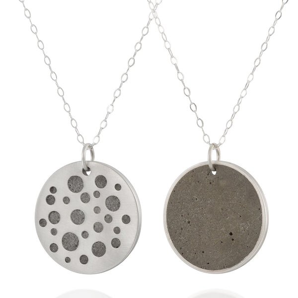 Double Sided Minimalist Concrete Circles Necklace, by BAARA Jewelry. Silver and Cement Handmade Necklace